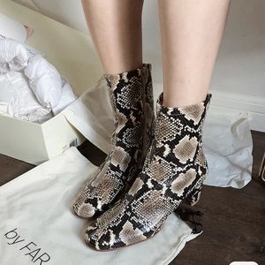 BY FAR Sofia leather Ankle boot snake print